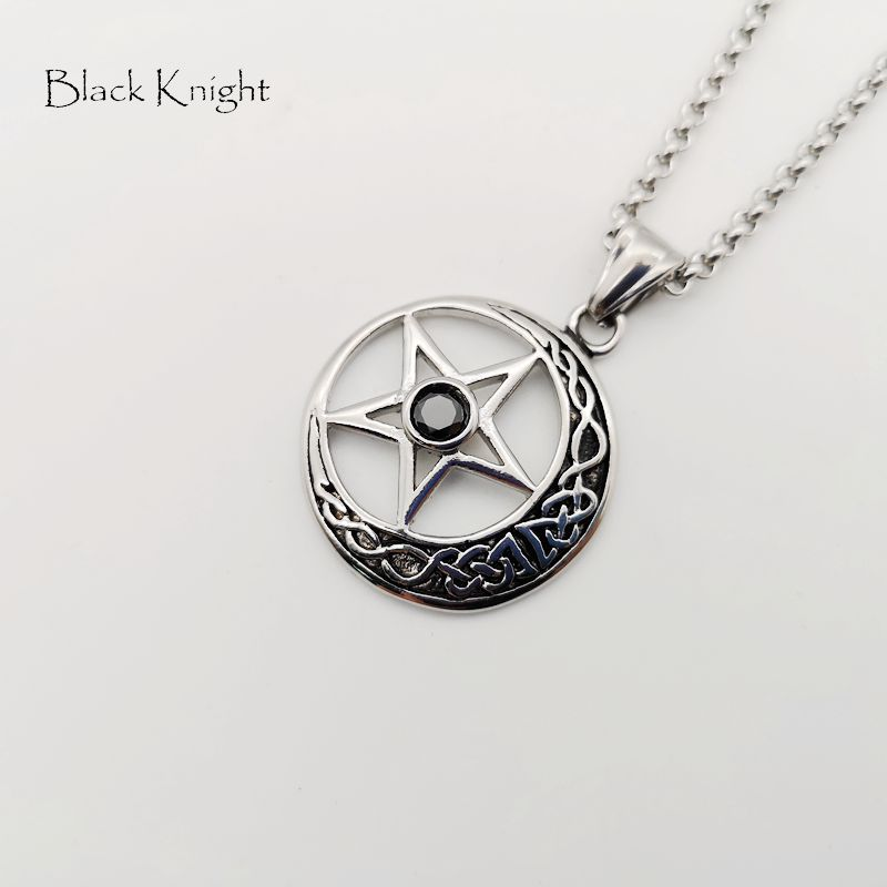 Black Knight Natural red stone star moon pendant necklace vintage color stainless steel star moon necklace jewelry BLKN0733 in Pendant Necklaces from Jewelry Accessories