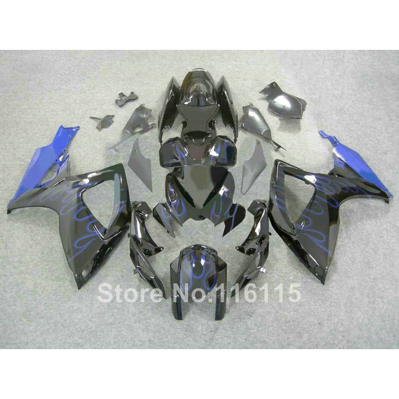 full <font><b>fairing</b></font> <font><b>kit</b></font> for Suzuki <font><b>GSXR</b></font> <font><b>600</b></font> 750 K6 K7 2006 2007 blue flames black <font><b>fairings</b></font> set GSX-R600 GSX-R750 06 <font><b>07</b></font> S4-4 image