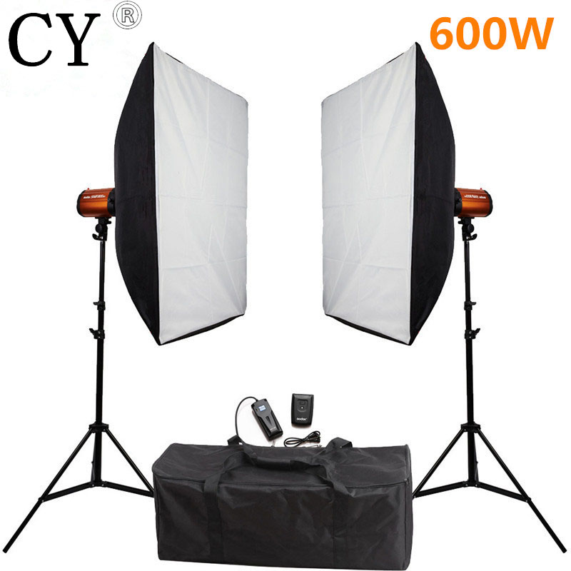 Godox Smart 300SDI 600W 220V Photography Softbox Flash Lighting Kits Flash Light Lightbox Stand Set Photo Studio Accessories godox smart 300sdi 300ws flash studio photography light orange ac 220v 3 flat pin plug