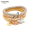 Lemon Value Vintage Charms Steampunk Gold Plated Crystal Heart Anchor Elastic Bracelets & Bangles Women Jewelry Pulseras H007