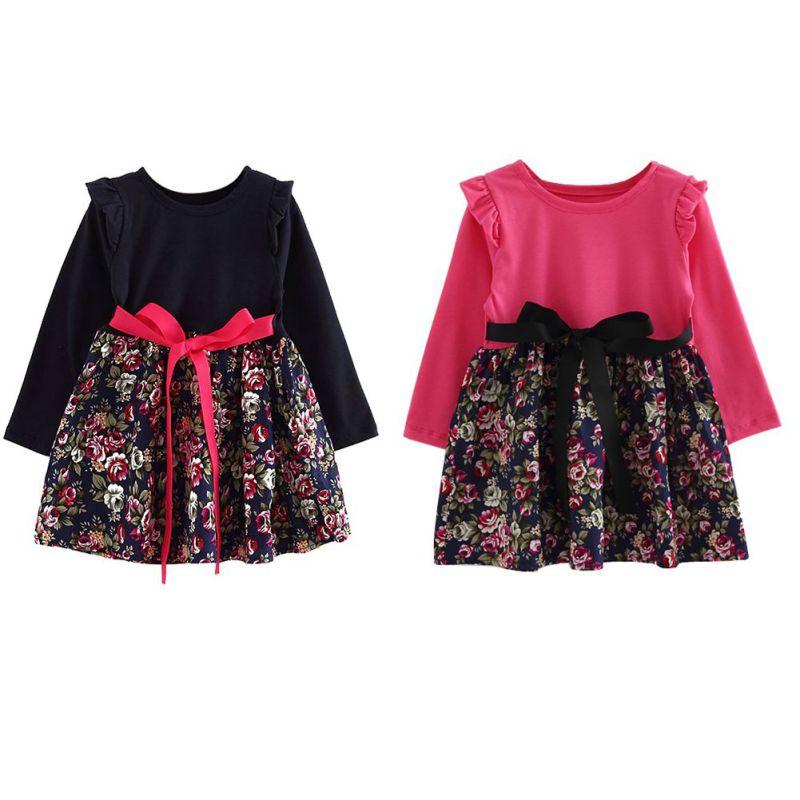 Princess-Girl-Flower-Pattern-Print-Dress-Full-Sleeve-with-Sashes-Cute-Baby-Girls-Dress-2