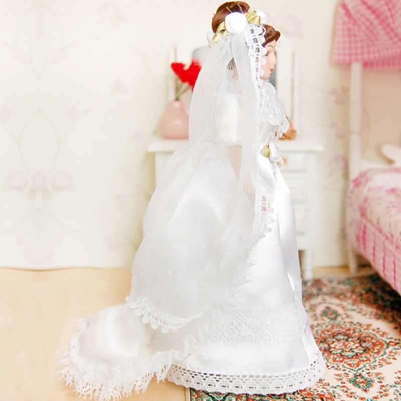 G07-X352 children baby gift Toy 1:12 Dollhouse mini Furniture Miniature rement Doll 15cm Bride with weeding dress 1pcs