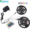SMD 3528 RGB LED Strip Light Waterproof 600LEDs 10M Flexible 5050 Diode Tape Kit+24keys IR Remote Controller+DC12V Power Adapter