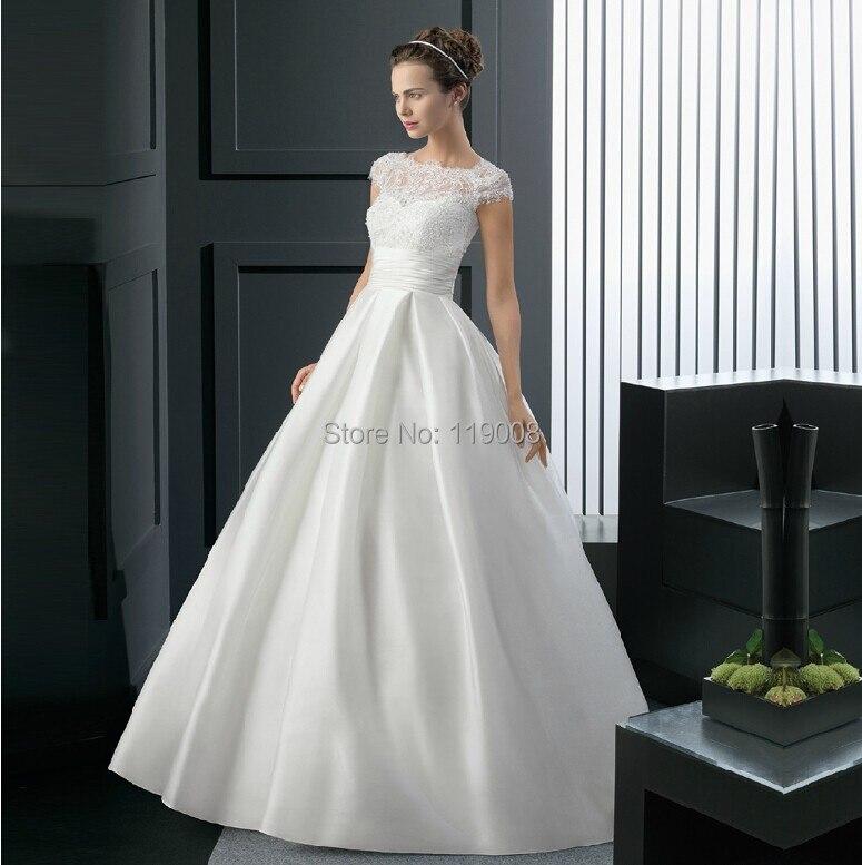 vestidos de noiva 2015 manga del casquillo elegante vestidos novia