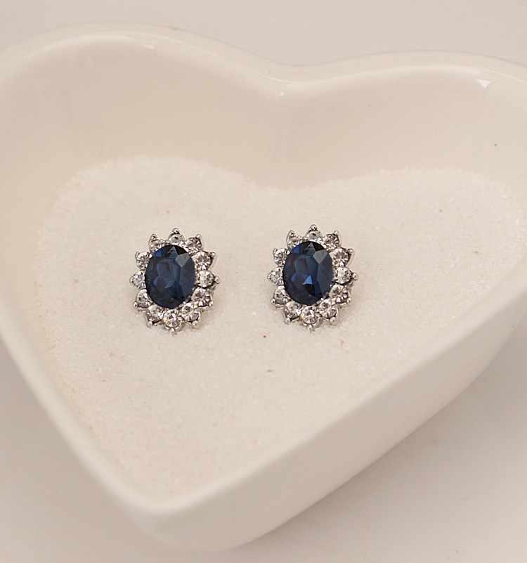 2019 חדש חמה אופנה כלה חתונה אירועים יוקרה סגלגל כחול האוסטרי קריסטל תליוני שרשרת/עגילים לנשים תכשיטי סט