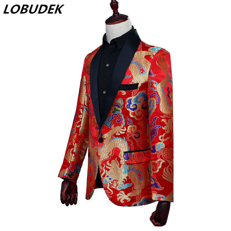 New red Embroidery male jacket blazer fashion slim coat groom weeding dress Formal singer dancer stage performance outift show