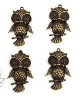 set of 10 pcs big bird owl antique bronze w/ rhinestone pavement zinc alloy for pendant, charm, drops diy 42X27mm-AY0038
