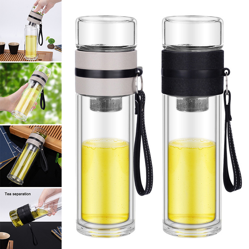 Borosilicate Glass Bottle Tea Infuser Travel Mug With Strainer For Loose Leaf Tea LBShipping