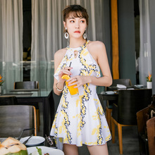 ffbae1fea48d9 2018 New Printed Women High Neck Two Pieces Tankinis Sets Skirt Bathing  Suit Swimming Dress Beach