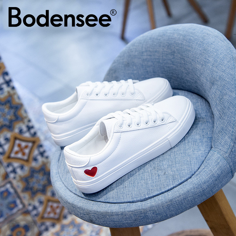 BODENSEE Women Canvas Shoes Women Casual Flats Heart Lace-up Fashion Female Spring/autumn Shoes Solid White Sneakers