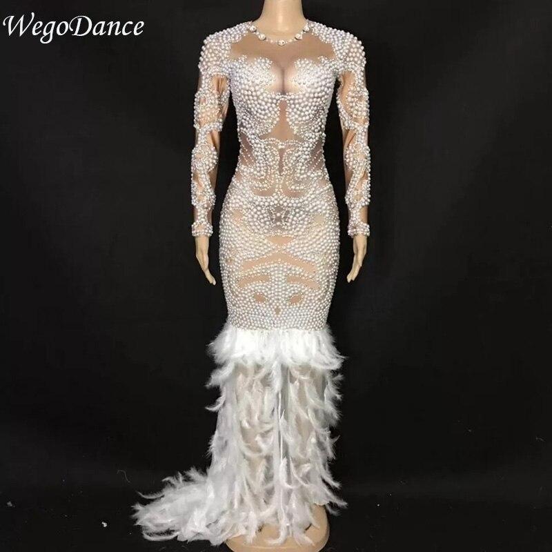 Модные блестящие большой жемчужное платье длинный шлейф для женщин костюм на день рождения Пром праздновать ню большой хвост платья для ж