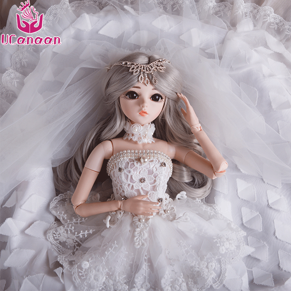 UCanaan 1/3 BJD Doll Wig&Makeup SD Dolls Wedding Dress 18 Joints Body Beauty Clothes Shoes Princess Dolls Toys for Girls ucanaan bjd doll sd dolls wedding dress wig
