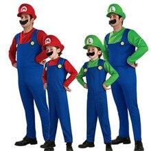 Dorosłe dzieci Super Mario Luigi Bros kostiumy na Halloween pokaz cosplay kostium zestaw kreskówka Mario jednolite rodzinne ubrania dla rodziców i dzieci