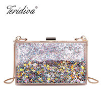 Teridiva Liquid Clear Transparent Acrylic Women Evening Box Clutch Bag Ladies Hard Metal Clutches Messenger
