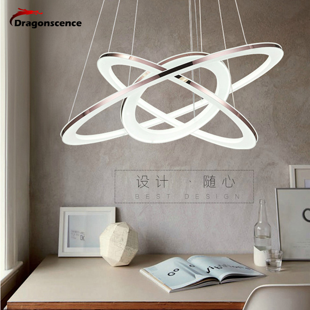 Dragonscence Modern Loft chandelier LED circle ring Pendant chandelier light for Lobby living room Acrylic stainless steel