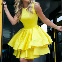 Sexy Yellow Cocktail Dress Satin A Line Short Homecoming Dress 2019 Mini Graduation Party Dresses Cheap robe de cocktail