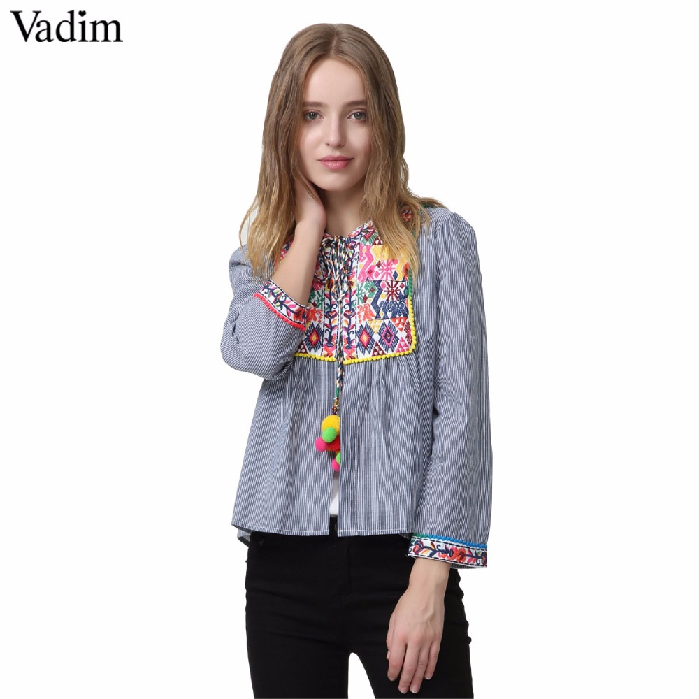 women vintage Boho embroidery jacket vintage loose retro pleated coat long sleeve color fur balls casual outwear tops CT1206|embroidery jacket|coat long sleevejacket vintage - AliExpress