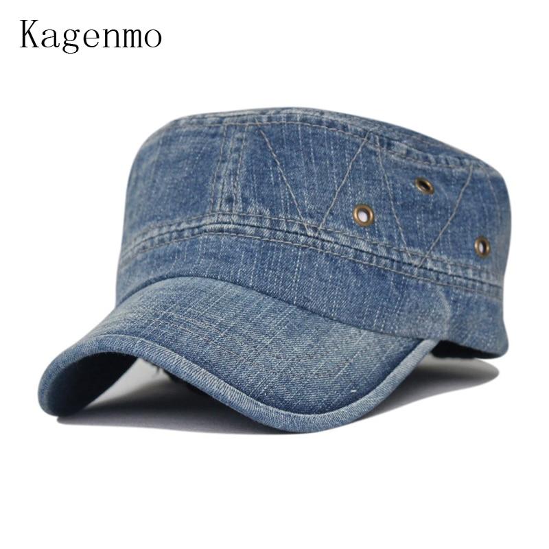 Kagenmo Moda lavar old-fashioned denim chapéu do exército boné de beisebol de lazer 4 cores 1 pcs novo chegam