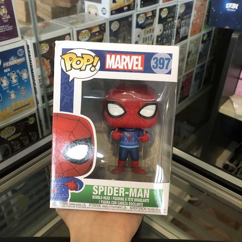 Funko pop Official Marvel: Holiday - Spider-Man with Ugly Sweater Vinyl Action Figure Spider Man Collectible Model Toy
