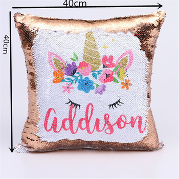 Personalized Sequins Unicorn Pillow Case