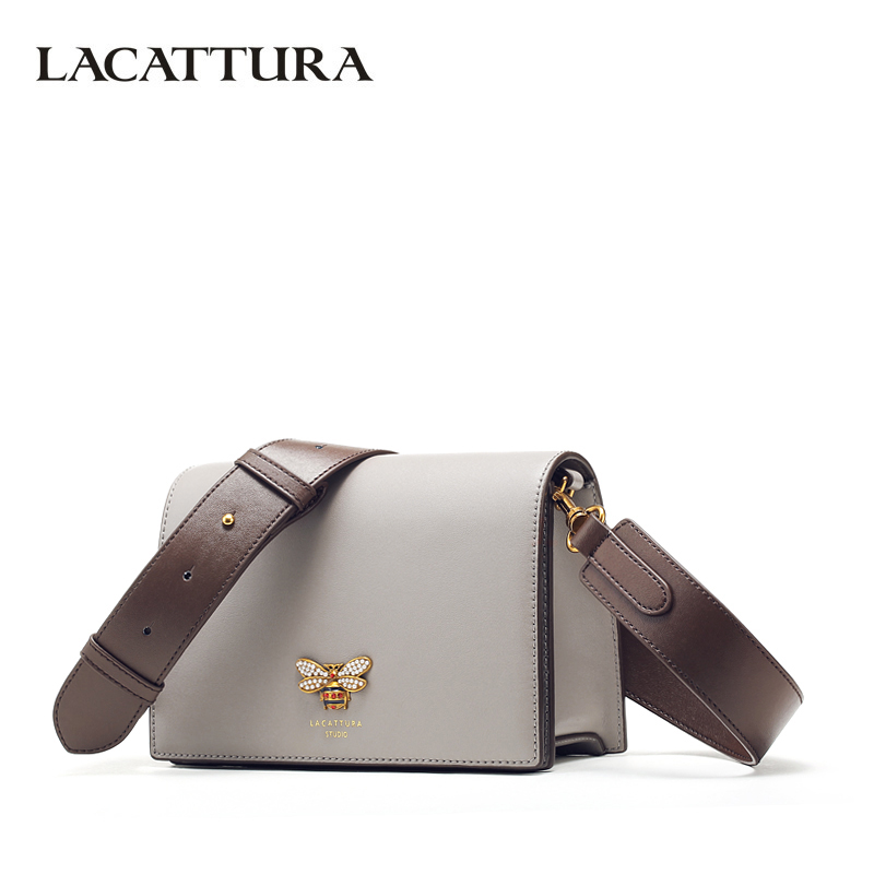 LACATTURA Women Messenger Bags Designer Small Flap Handbag Women Split Leather Shoulder Bag Crossbody for Lady Fashion Purse lacattura luxury handbag chain shoulder bags small clutch designer women leather crossbody bag girls messenger retro saddle bag