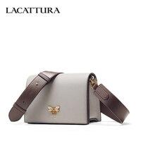 LACATTURA Women Messenger Bags Designer Small Flap Handbag Women Split Leather Shoulder Bag Crossbody for Lady Fashion Purse
