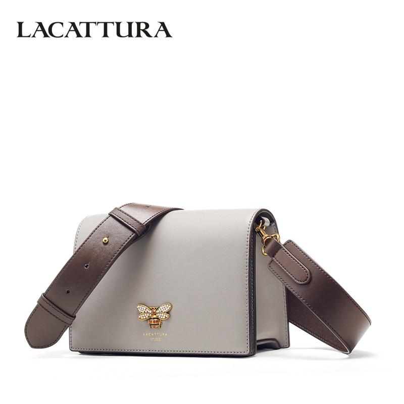 Lacattura Для женщин Курьерские сумки дизайнер небольшой лоскут сумки Для женщин Разделение кожаная сумка через плечо для Леди Мода кошелек