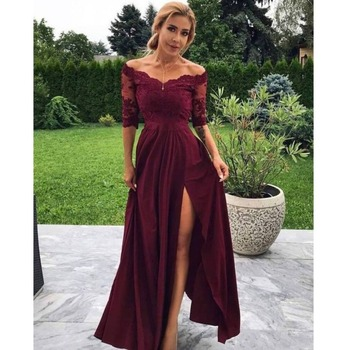 Burgundy A Line Prom Dress 2019 Half Sleeves Lace V Neck High Slit Formal Women Evening Dresses Plus Size Long Party Gowns
