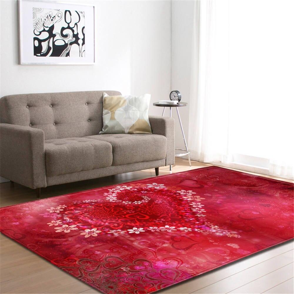Mode romantique coeur tapis saint valentin Surprise cadeau chambre décor tapis doux flanelle maison Textile salon tapis tapis