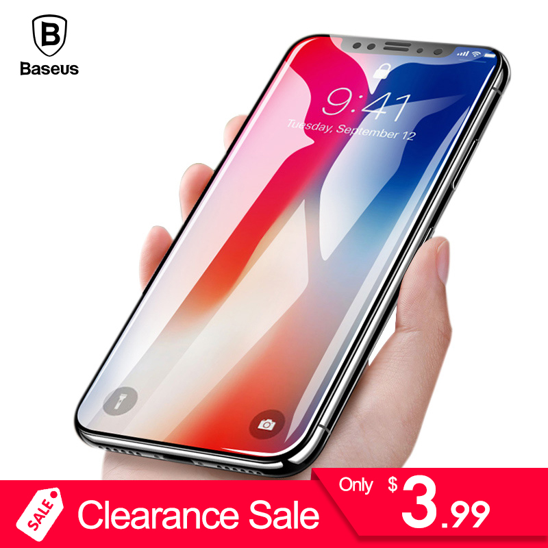 Baseus 0.3mm 9H Tempered Glass For iPhone X Screen Protector Toughened Protective Glass Film For iPhone X Glass Protective Film