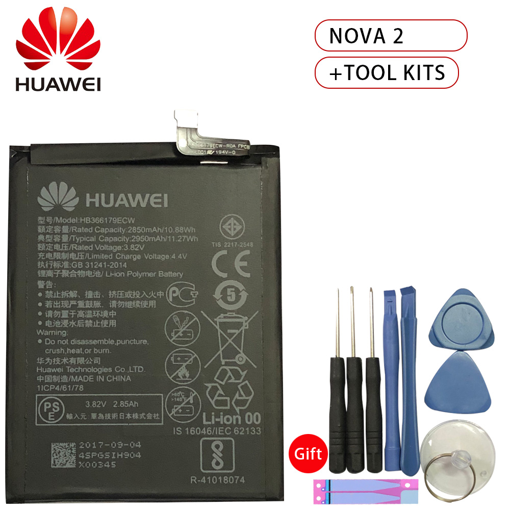 Hua Wei Replacement Phone Battery HB366179ECW For Huawei Nova 2 CAZ-AL10 CAZ-TL00 2950mAh