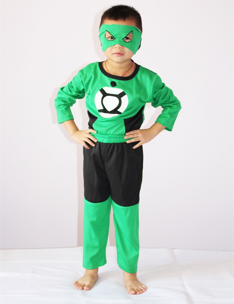 Green Lantern Costume Halloween Costume for 3-7 Years Boy Party Cosplay Costume Kids Long Sleeve Clothing Set