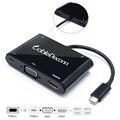 5in1 USB 3.1 Type-C для HDMI + VGA + Тип C + 2Hub USB-C Женский Адаптер Зарядного Устройства для Macbook 12 Дюймовый Ноутбук Google Новый Chromebook Pixel