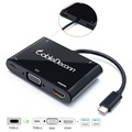 5in1 USB 3.1 Type-C to HDMI+VGA+Type C+2Hub USB-C Female Charger Adapter for Macbook 12 Inch Laptop Google New Chromebook Pixel