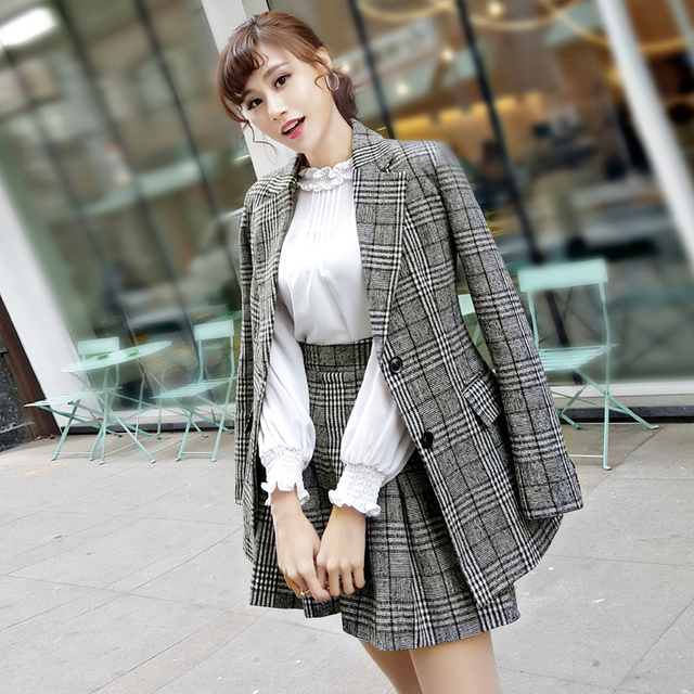 276b73a2f9c272 2017 Autumn Winter Korean Fashion Women Vintage Plaid Woolen Blazer  Coats+Shorts Female Elegant Slim