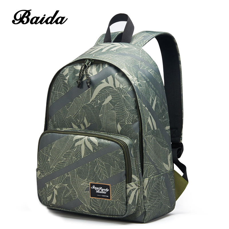 BAIDA High Quality Canvas Backpack Men Notebook Laptop Printing Bags Youth School Student Cool Rucksack For Teenagers Boys Bolsa 14 15 15 6 inch flax linen laptop notebook backpack bags case school backpack for travel shopping climbing men women