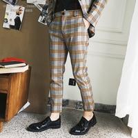 Lattice Nine Part Pants Repair Bound Feet Pants Tide Male Personality Leisure Time Pants Hairstyle Trousers Pantalon Homme