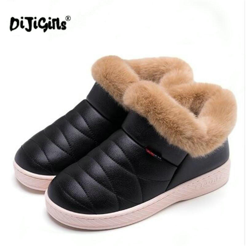 Cotton Boots Flats Warm-Shoes Couple Soled Waterproof Winter Women Thick Ankle