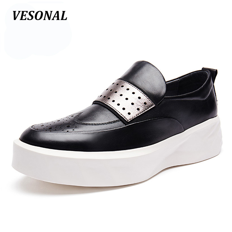 VESONAL Summer Hollow Out Platform Loafers Men Shoes 100% Luxury Genuine Leather Fashion Mens Shoes Casual Designer SD6005 cbjsho brand men shoes 2017 new genuine leather moccasins comfortable men loafers luxury men s flats men casual shoes