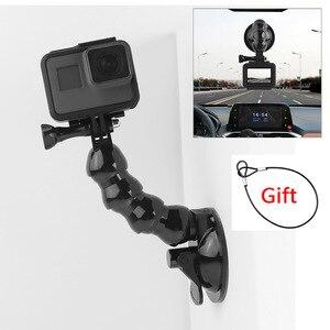 Image 1 - 흡입 컵 GoPro 영웅을위한 자동차 마운트 8 7 6 5 4 Insta360 Yi 4k Go pro 카메라 SJcam SJ4000 DJI AKASO EKEN with Safety Tether