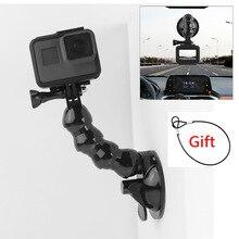 Автомобильное крепление на присоске для камер GoPro Hero 8 7 6 5 4 Insta360 Yi 4k Go pro SJcam SJ4000 DJI AKASO EKEN с страховочным тросом