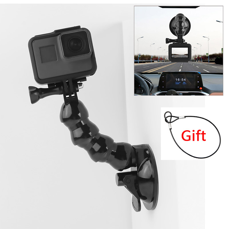 Suction Cup Car Mount For GoPro Hero 8 7 6 5 4 3+ All Xiaomi Yi Go Pro Cameras SJcam SJ4000 SJ5000 AKASO EKEN With Safety Tether