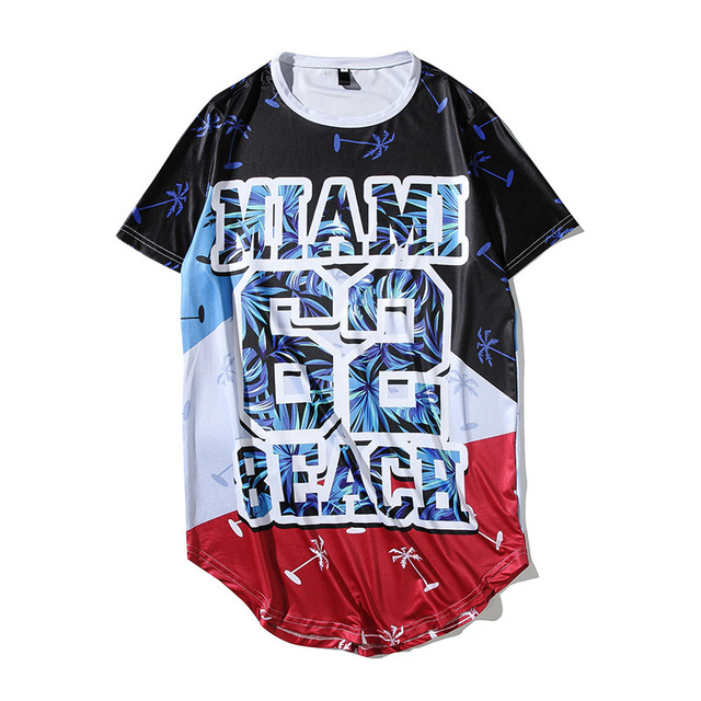 Mens Miami Beach Print Hip Hop T Shirt 2018 Brand New Male Casual O