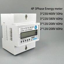 4P 10(100) трехфазный din-рейка кВт-ч ватт-час на din-рейку счетчик энергии ЖК-дисплей 3*230/400V 3*120/208V 3*220/380V 2*120/208V 50Hz 60 гц