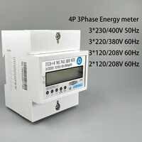 4 P 10 (100) un mètre triphasé d'énergie de mètre de rail Din de KWH de Watt-heure LCD 3*230/400 V 3*120/208 V 3*220/380 V 2*120/208 V 50Hz 60Hz