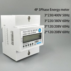 4P 10(100)A three phase Din rail KWH Watt hour din-rail energy meter LCD 3*230/400V 3*120/208V 3*220/380V 2*120/208V 50Hz 60Hz