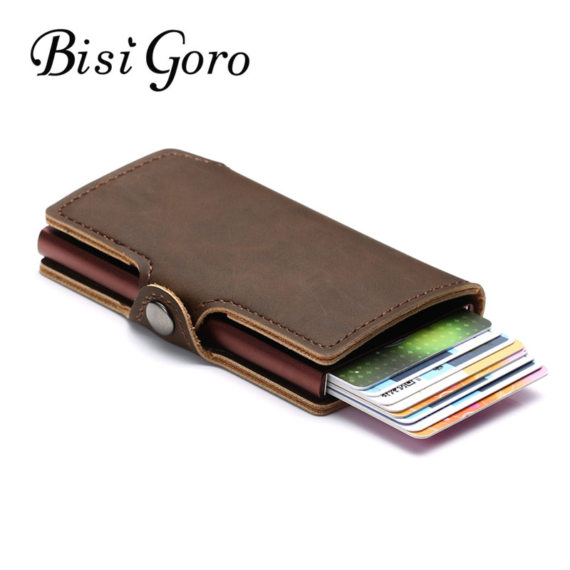 BISI GORO 2019 New Men And Women Credit Card Holder Single Box Vintage Mini Safe Aluminum RFID Card Holder Purse Dropshipping