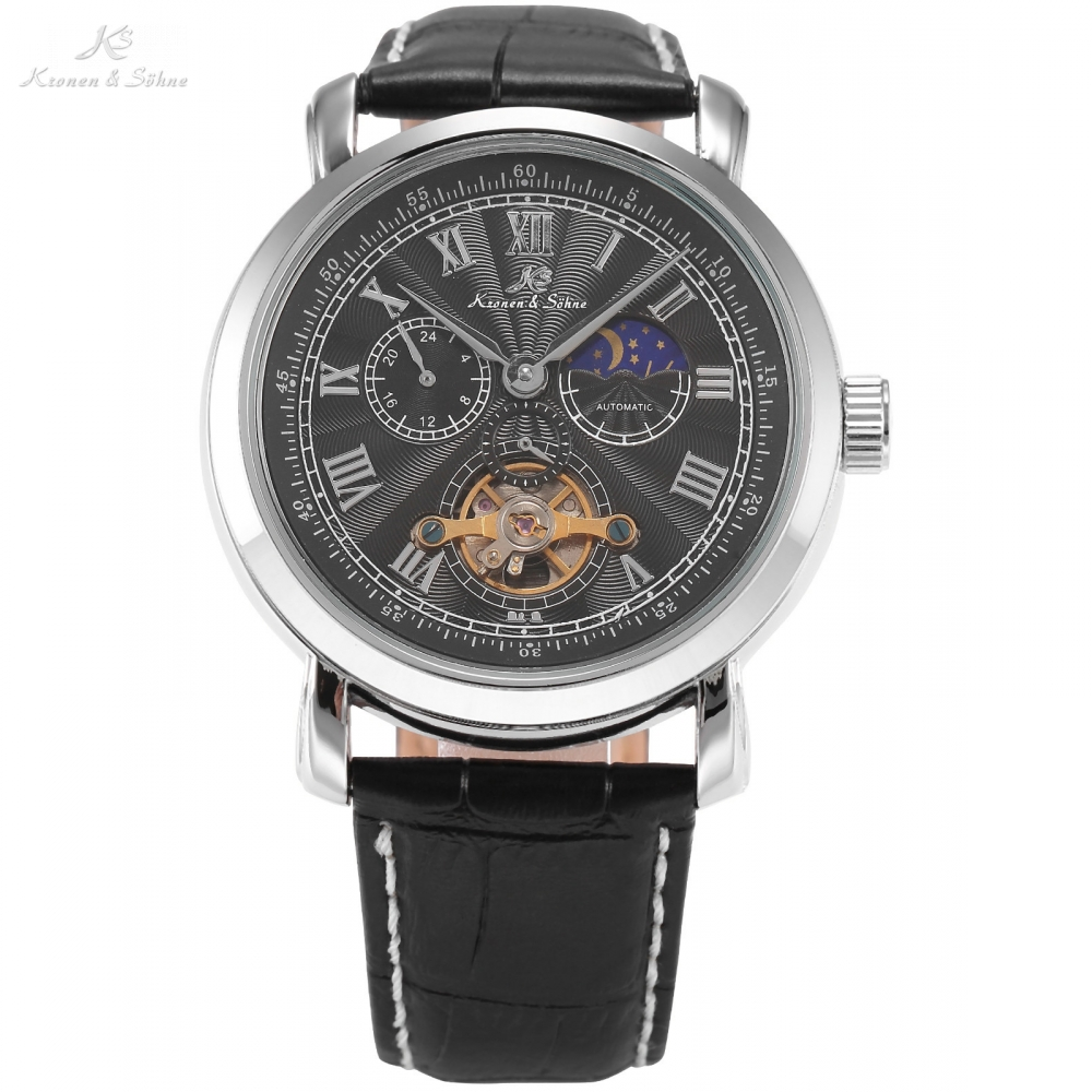 KS Automatic Mechanical Silver Black Tourbillon Moon Sun Roman Analog Display Leather Band Mens Gents Dress