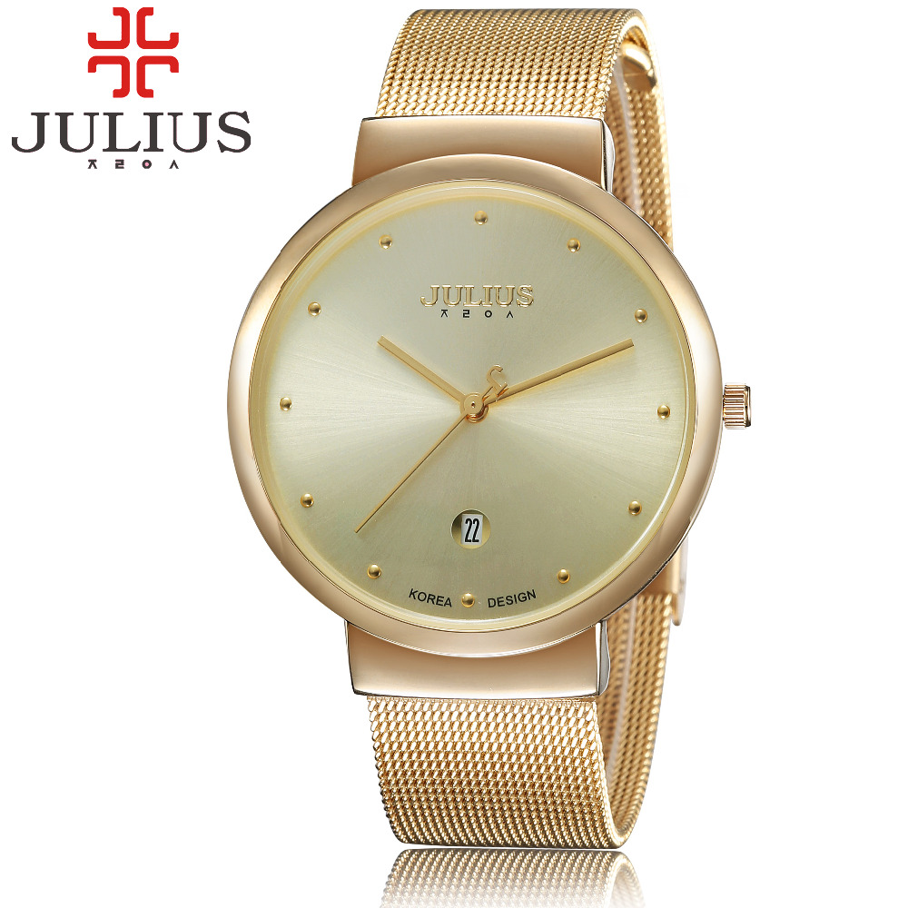 2017 Hot Luxury JULIUS Brand Watches Men Women quartz-watch relogios Steel Mesh Strap Wristwatch Thin Dial Clock Relogio Montre