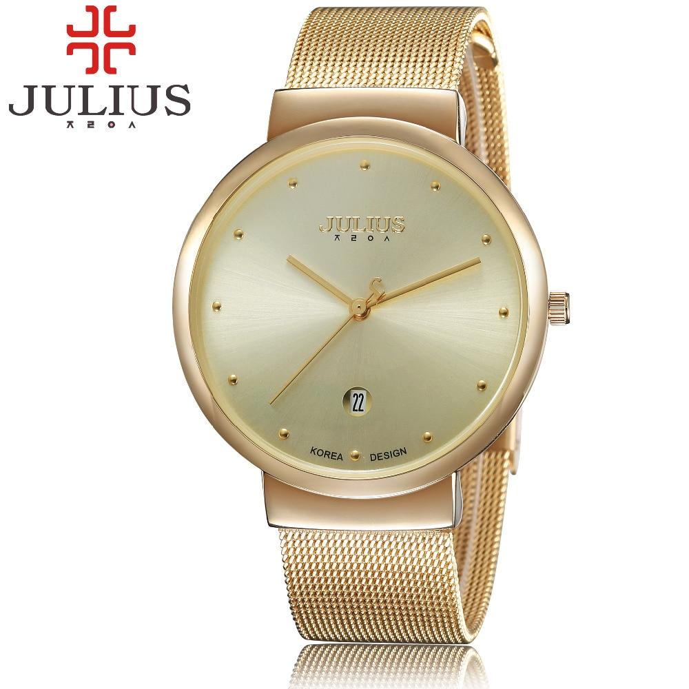 Prix pour 2017 chaud de luxe julius marque montres hommes femmes quartz-montre relogios acier maille sangle montre-bracelet mince cadran horloge relogio montre